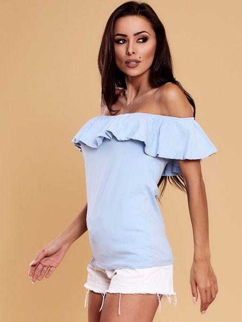 Niebieska bluzka hiszpanka z falbaną                              zdj.                              3
