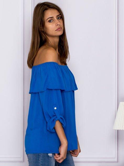 Niebieska bluzka hiszpanka z podwijanymi rękawami                                  zdj.                                  3