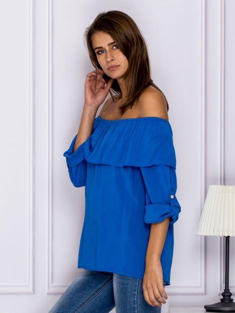 Niebieska bluzka hiszpanka z podwijanymi rękawami                                  zdj.                                  5