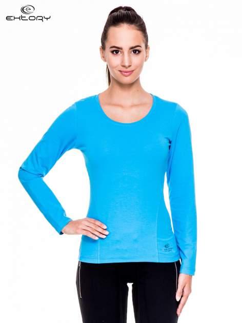 Niebieska bluzka sportowa z dekoltem U                                  zdj.                                  1