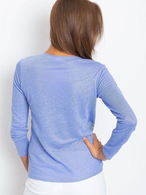 Niebieska bluzka z aplikacją                              zdj.                              2
