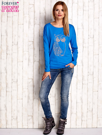 Niebieska bluzka z aplikacją w kształcie sowy                                  zdj.                                  2