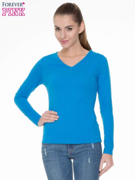 Niebieska bluzka z długim rękawem z bawełny                                  zdj.                                  1