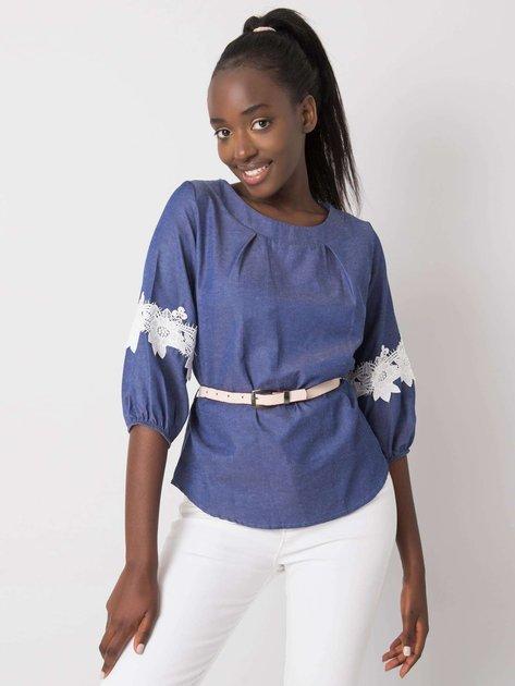 Niebieska bluzka z koronką Emely
