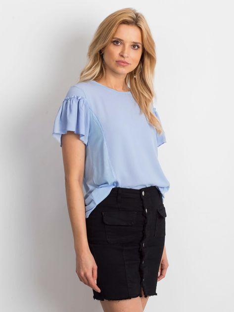 Niebieska bluzka z szerokimi rękawami                              zdj.                              3