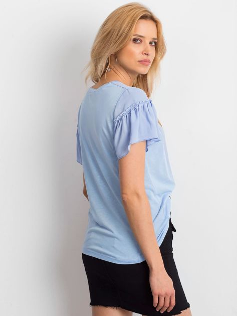 Niebieska bluzka z szerokimi rękawami                              zdj.                              2