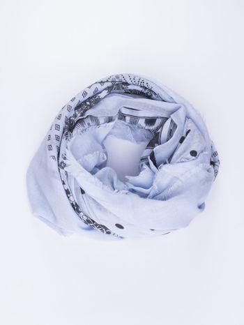 Niebieska chustka w aztecki wzór i kwiatki
