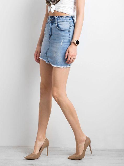 Niebieska damska spódnica jeansowa                              zdj.                              3