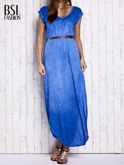 Niebieska dekatyzowana sukienka maxi