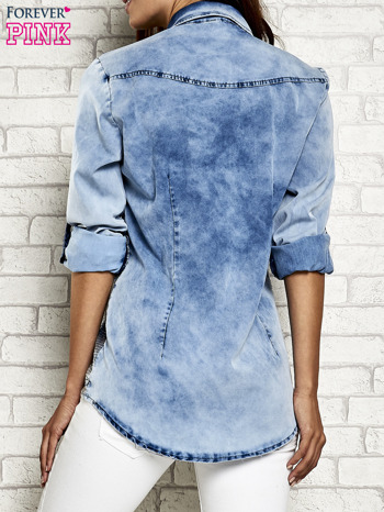 Niebieska denimowa koszula z cekinami                                  zdj.                                  5