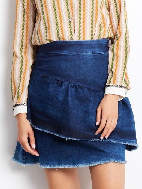 Niebieska denimowa spódnica z warstwowymi falbanami                              zdj.                              1