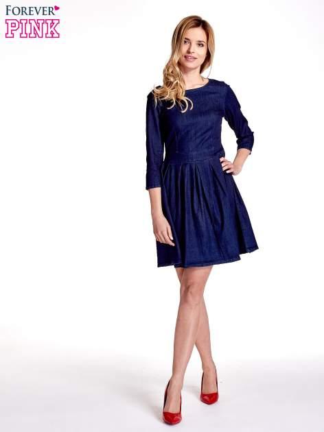 Niebieska denimowa sukienka                                  zdj.                                  4