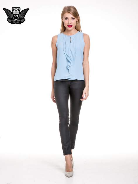 Niebieska elegancka koszula z żabotem                                  zdj.                                  2