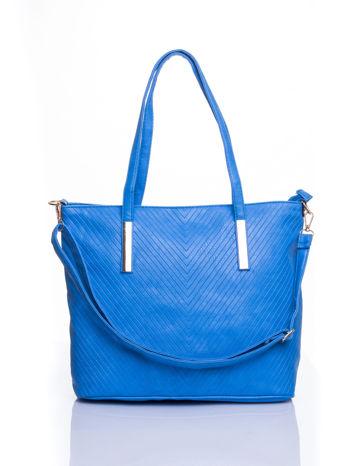 Niebieska fakturowana torba shopper bag