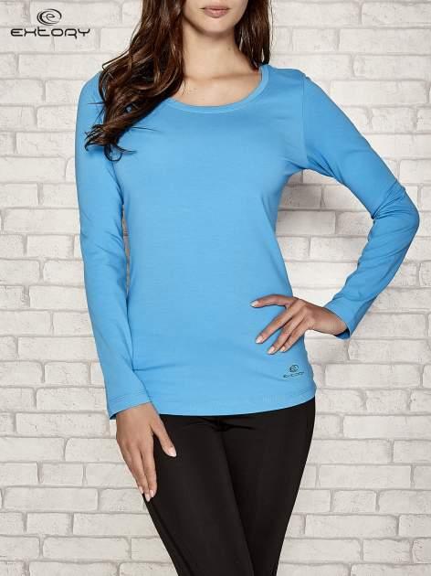 Niebieska gładka bluzka sportowa z dekoltem U PLUS SIZE