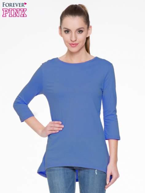 Niebieska gładka bluzka z dłuższym tyłem                                  zdj.                                  1