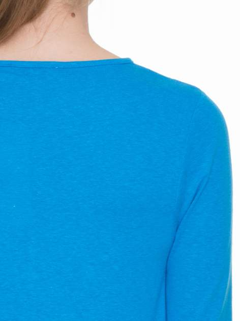 Niebieska gładka bluzka z rękawem 3/4                                  zdj.                                  7