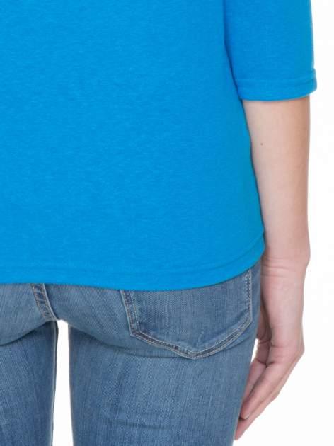 Niebieska gładka bluzka z rękawem 3/4                                  zdj.                                  8