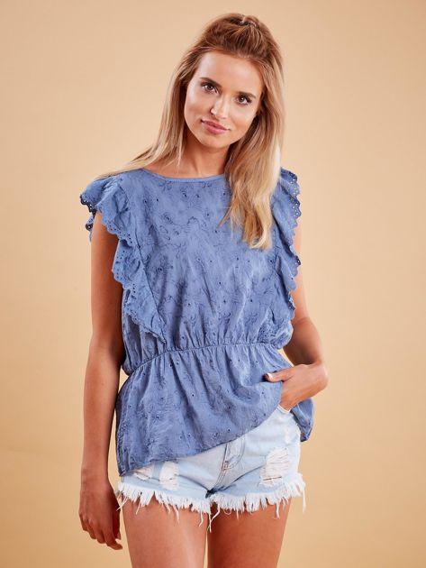Niebieska haftowana bluzka z marszczeniem                              zdj.                              1