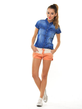 Niebieska jeansowa koszula z krótkim rękawem                                  zdj.                                  2