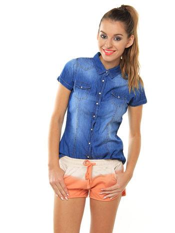 Niebieska jeansowa koszula z krótkim rękawem
