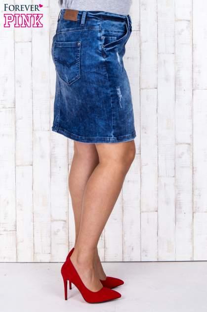Niebieska jeansowa spódnica mini z przetarciami i kieszeniami PLUS SIZE                                  zdj.                                  4