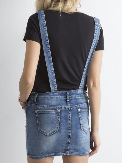 Niebieska jeansowa spódnica na szelkach                              zdj.                              2