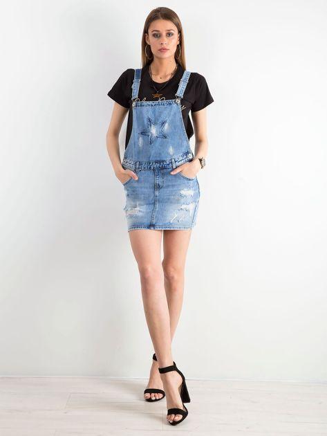 Niebieska jeansowa spódnica z szelkami                              zdj.                              4