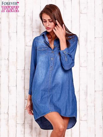 Niebieska jeansowa sukienka koszula z dłuższym tyłem                                  zdj.                                  1