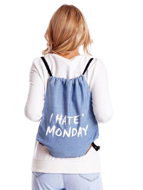 Niebieska jeansowa torba worek z napisem                              zdj.                              1