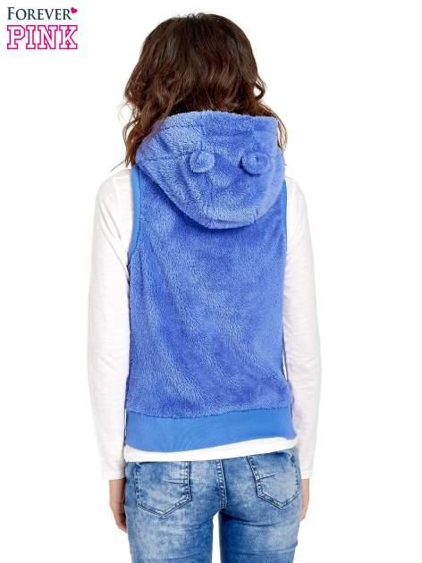 Niebieska kamizelka z polaru z kapturem z uszkami                                  zdj.                                  4
