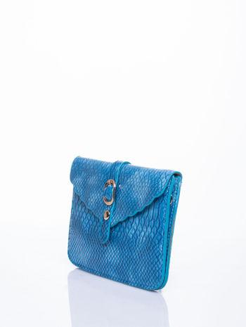 Niebieska kopertówka z motywem skóry krokodyla                                  zdj.                                  3