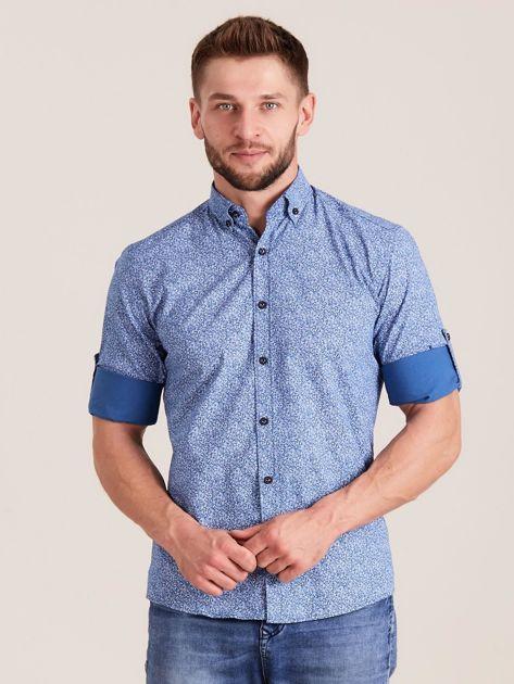 Niebieska koszula męska we wzory                              zdj.                              1