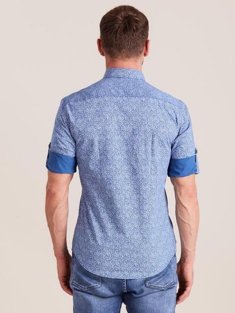 Niebieska koszula męska we wzory                              zdj.                              2