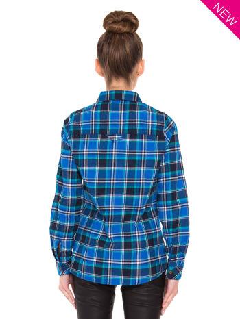 Niebieska koszula w kratę z kieszonką z przodu                                  zdj.                                  4