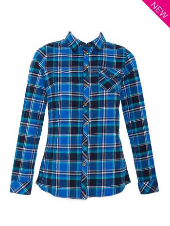 Niebieska koszula w kratę z kieszonką z przodu                                  zdj.                                  1