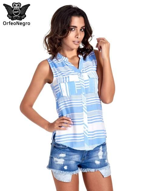 Niebieska koszula w paski bez rękawów                                  zdj.                                  1