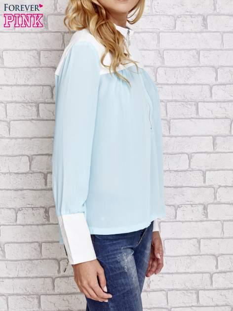 Niebieska koszula ze skórzanymi pikowanymi wstawkami                                  zdj.                                  3