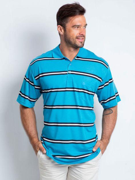 Niebieska koszulka polo męska plus size Master