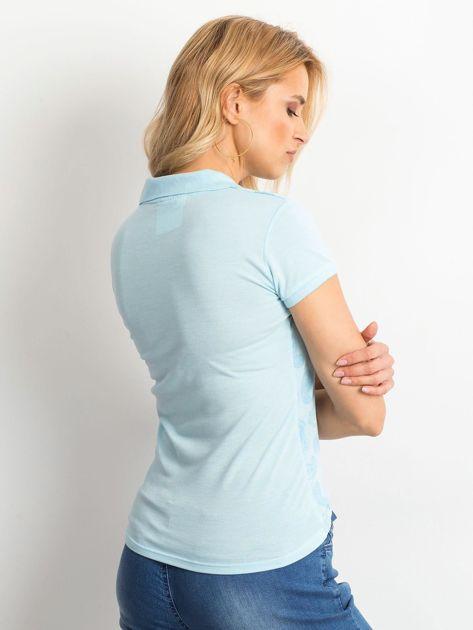 Niebieska koszulka polo z motywem paisley                              zdj.                              2