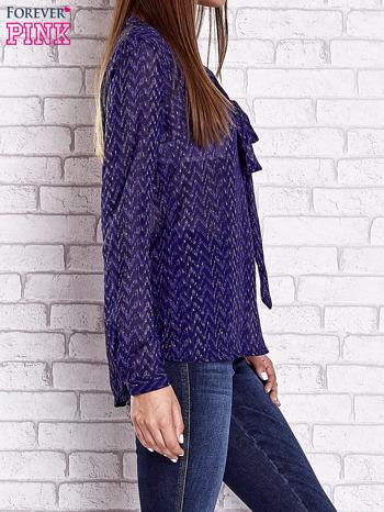 Niebieska koszulowa bluzka mgiełka z wiązanym dekoltem                                  zdj.                                  4
