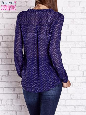 Niebieska koszulowa bluzka mgiełka z wiązanym dekoltem                                  zdj.                                  5