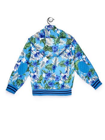 Niebieska kurtka dziecięca z tropikalnymi motywami