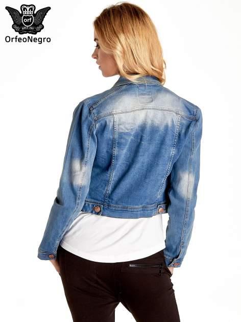 Niebieska kurtka jeansowa damska z przetarciami                                  zdj.                                  4