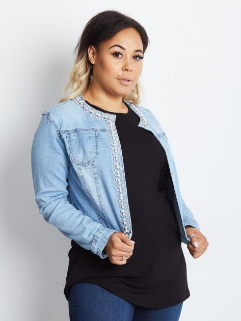 Niebieska kurtka jeansowa plus size Shimmers                              zdj.                              1