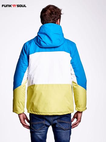 Niebieska kurtka męska z kolorowymi modułami FUNK N SOUL                                  zdj.                                  2