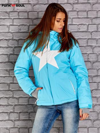 Niebieska kurtka narciarska z motywem gwiazdy FUNK N SOUL                                  zdj.                                  1