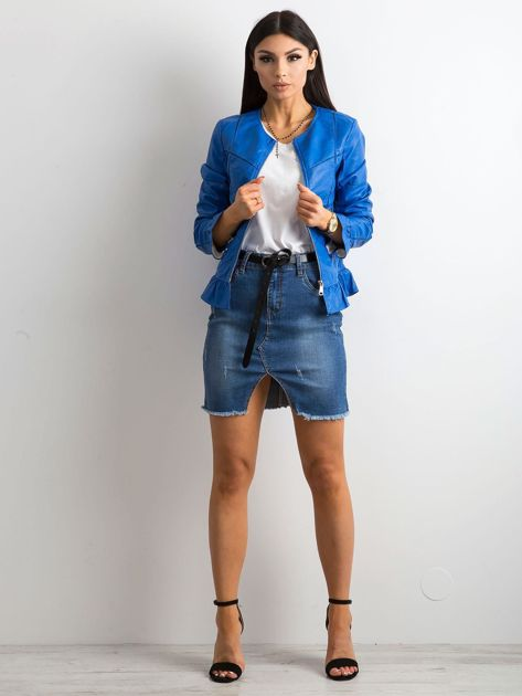 Niebieska kurtka z falbanami                              zdj.                              4