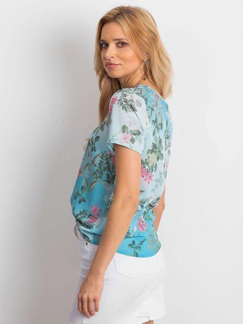 Niebieska kwiatowa bluzka z paseczkami                              zdj.                              5