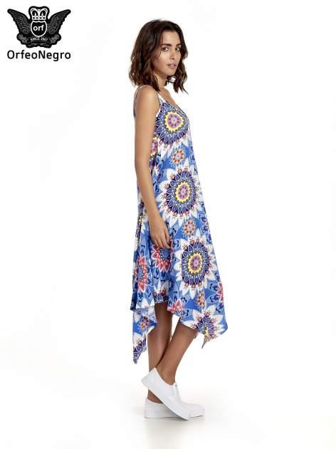 Niebieska letnia sukienka w kwiaty                                  zdj.                                  3